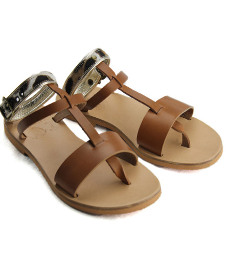 Hydra.2-Leopard Gold Tabac-Women Pony Hair Leather Sandals