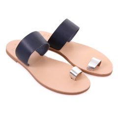 Milos Blue Silver-Women Metallic Leather Sandals