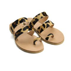 Santorini Leopard-Women Pony Hair Leather Sandals