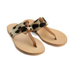 Skiathos Leopard Tabac-Women Pony Hair Sandals