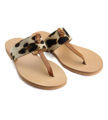 Skiathos Leopard Tabac-Women Pony Hair Sandals