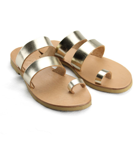 Santorini Platinum-Women Pony Hair Sandals