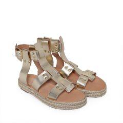London-Women Metallic Leather Sandals