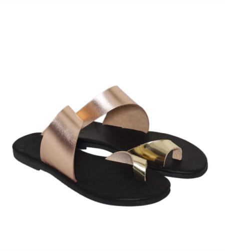 Antiparos-Women Metallic Leather Sandals
