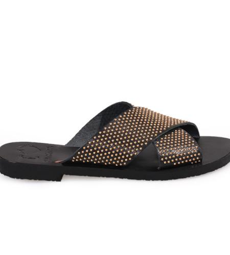 Gaia/Pin-Women Metallic Leather Sandals