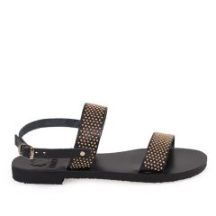Chloe/Pin-Women Metallic Leather Sandals