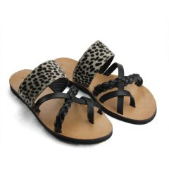 Melody Cheetah Black-Women Pony Hair Leather Sandals