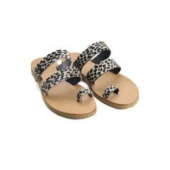 Santorini Cheetah Black-Women Pony Hair Sandals