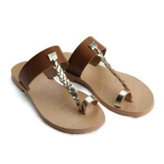 Patmos Tabac Gold-Women Metallic Leather Sandals