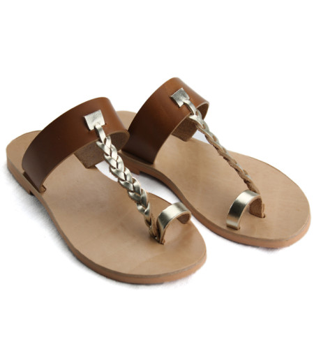 Patmos Tabac Gold-Women Metallic Leather Sandals