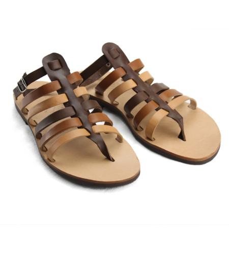 Ithaki Multi Brown-Women Leather Sandals