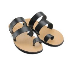 Santorini Black-Women Leather Sandals