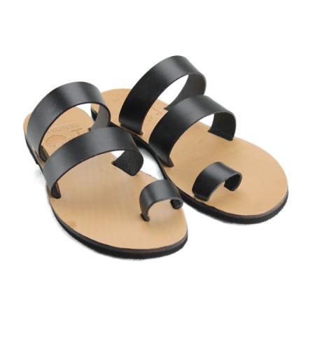 Santorini Black-Women Leather Sandals